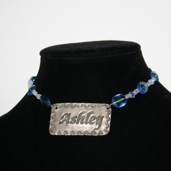 """ASHLEY blue and silver necklace 13"""""""